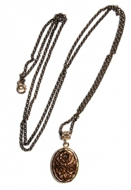Long necklace with bronze flower cameo