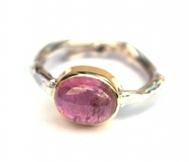 Silver ring with rose tourmaline in gold