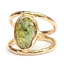 Dubbele ring met groene toermalijn