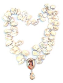 Baroque necklace with keshi pearls
