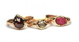 Ring met grote roodbruine diamant