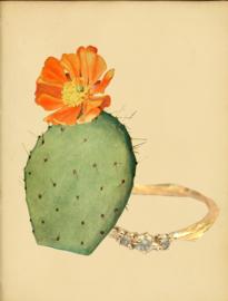 In opdracht gemaakte ring met natural light green diamanten