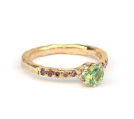 Lentering met groene toermalijn en diamant