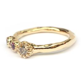 Zita ring met bruine diamanten en robijnen