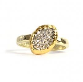 Ring met diamanten blaadje