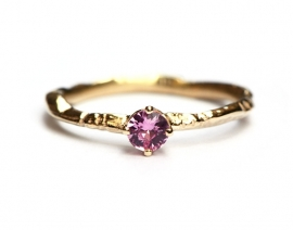 Tiny branch ring with rose sapphire RESERVED FOR I.