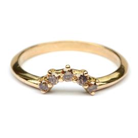 Stackring in 18krt goud met bruine diamanten