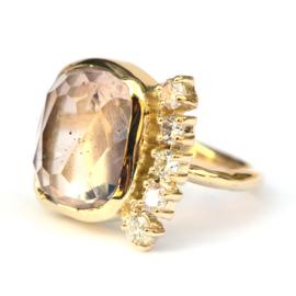 Ring met imperial topaas en diamanten
