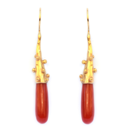 Earrings with coral drops