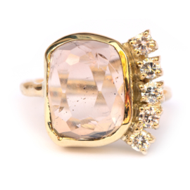 Ring met imperial topaas en diamanten