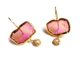Oorhangers roze tourmalijnplakjes en diamant
