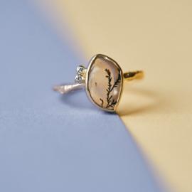 Ring met dendriet quartz