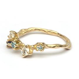 Twijgjesring met edelstenen en diamant