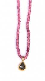 Pink tourmaline necklace with diamond pendant