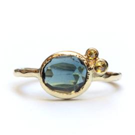 Ring met toermalijn en diamanten GERESERVEERD