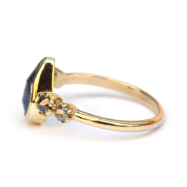 Rose cut pear diamond ring