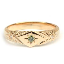 Zegelring met groene diamant