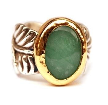 Blaadjesring met groene jade