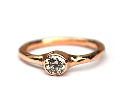 Rosegouden ring met diamant