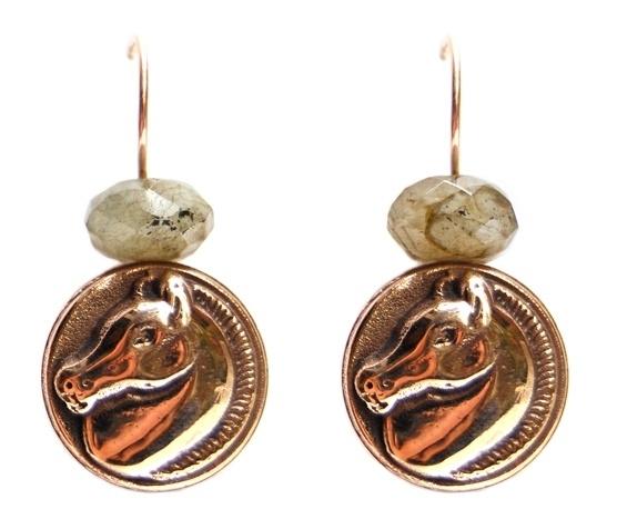 Oorhangers bronzen paardjes