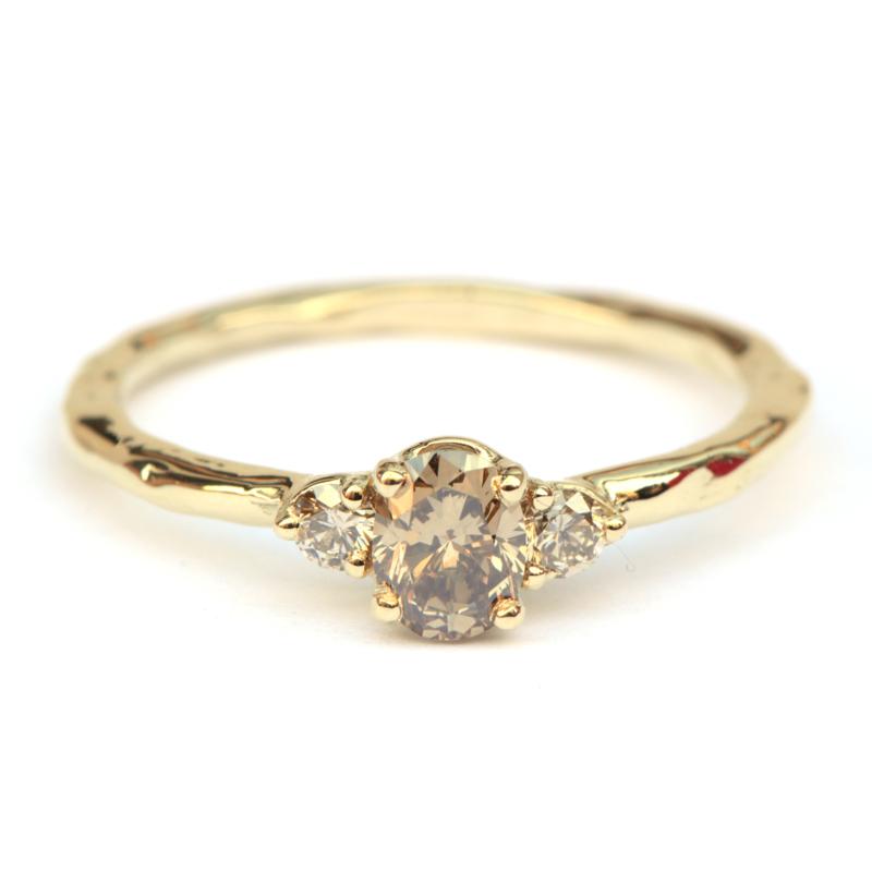 Ring met bruine diamanten GERESERVEERD