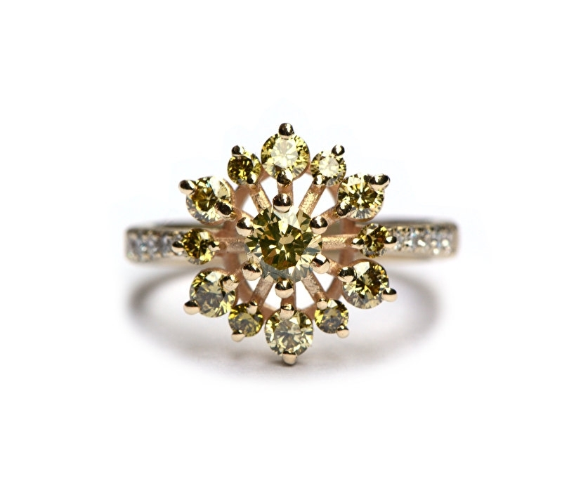 Flower ring with olive green diamonds RESERVED