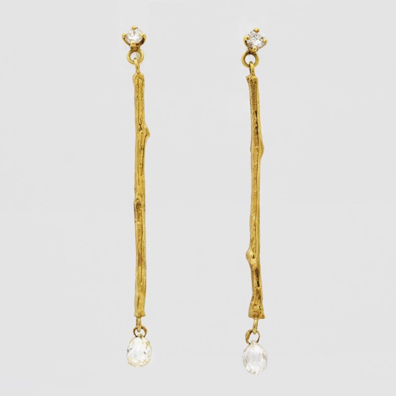Twiggy oorhangers met diamant briolettes