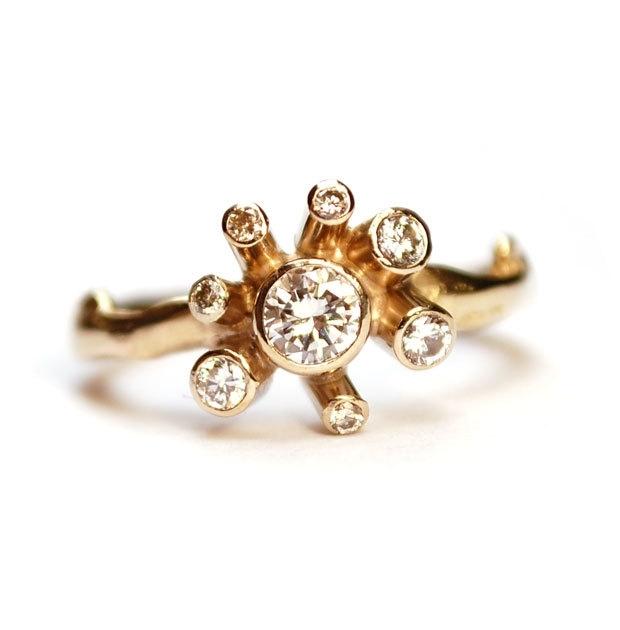 Van eigen diamanten en oud goud is deze prachtige Sunny Diamond ring gemaakt
