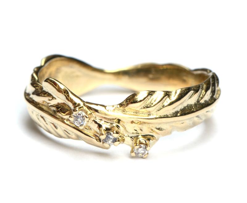Veertjesring met diamantjes