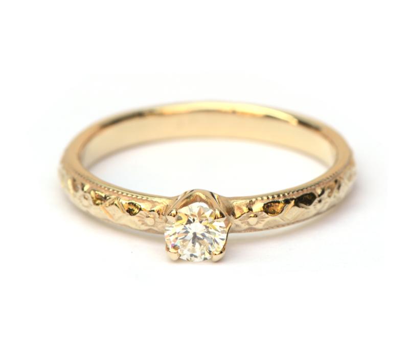 Art deco geinspireerde ring met diamant