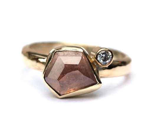 Ring from own gold with a gemstone