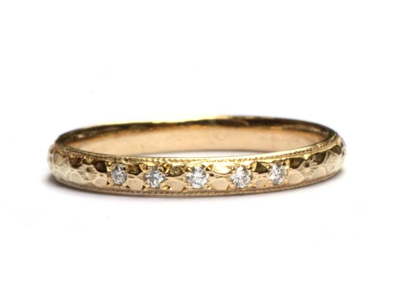 Ring art deco met 5 diamanten