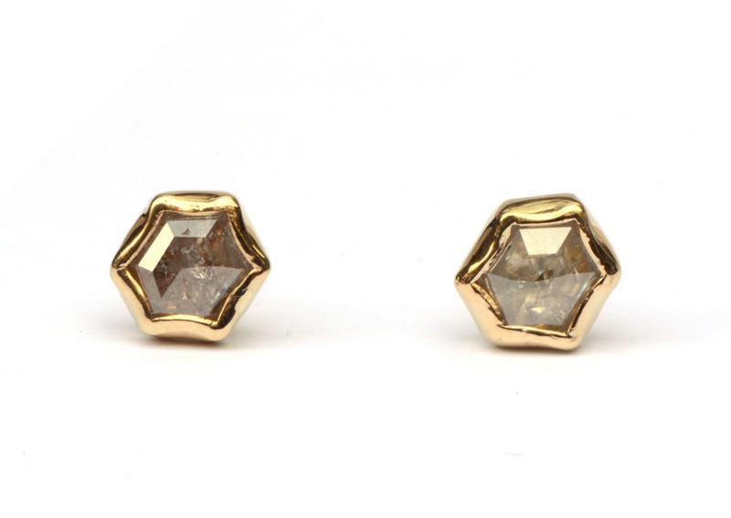 Hexagon diamanten oorstekers
