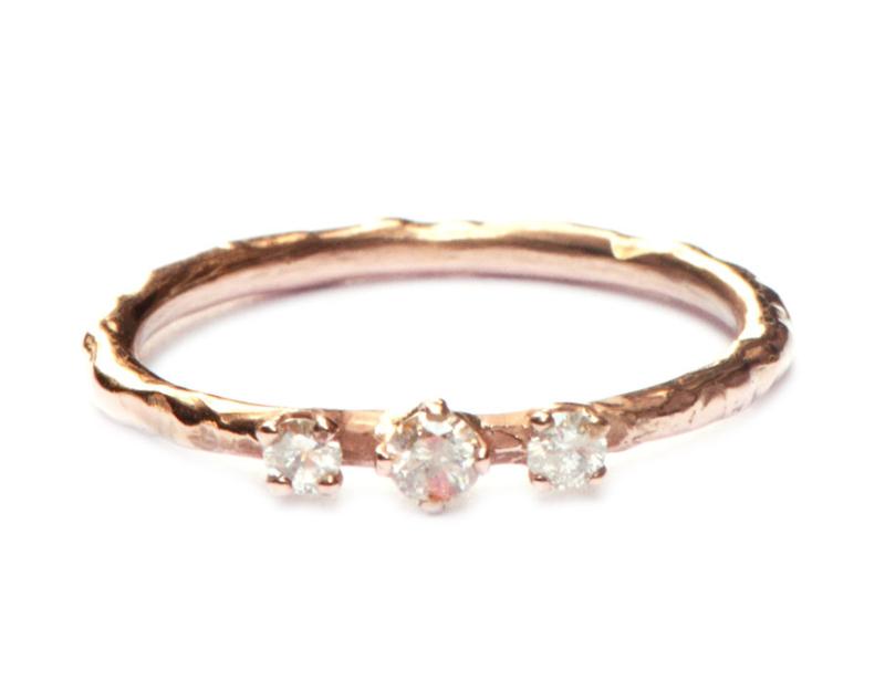 Roodgouden ring met koi diamanten