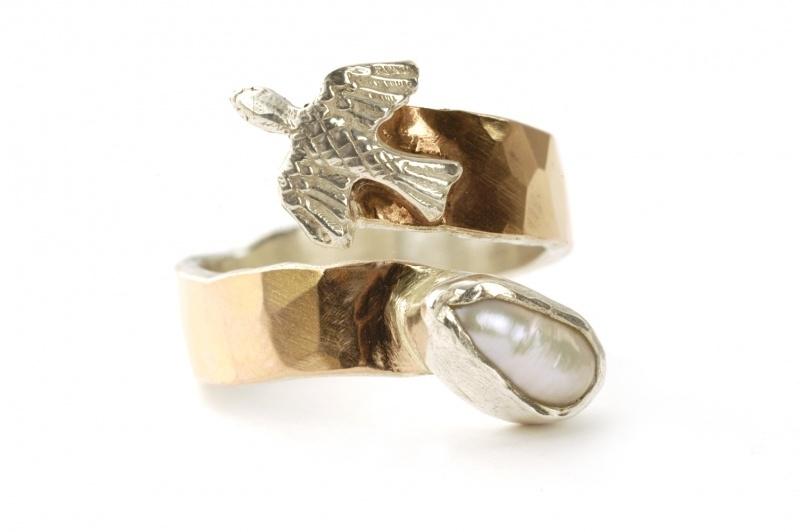 Vogelring rosegoud met zilver