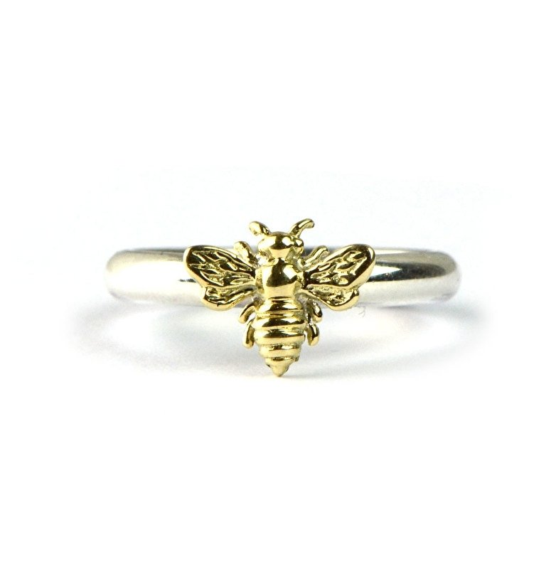 Zilveren ring met honingbijtje