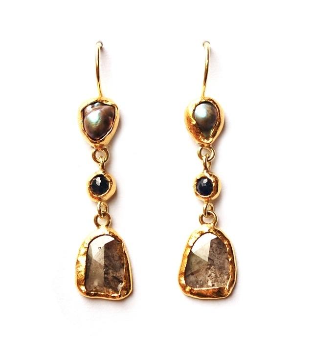 Oorhangers met Abalone parels en diamant