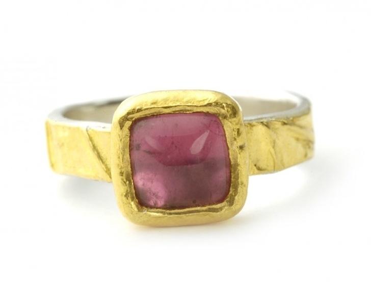 Ring bekleed met goud met roze tourmalijn