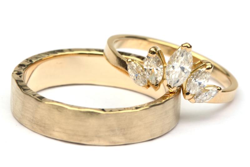 Trouwringenset met marquise diamanten