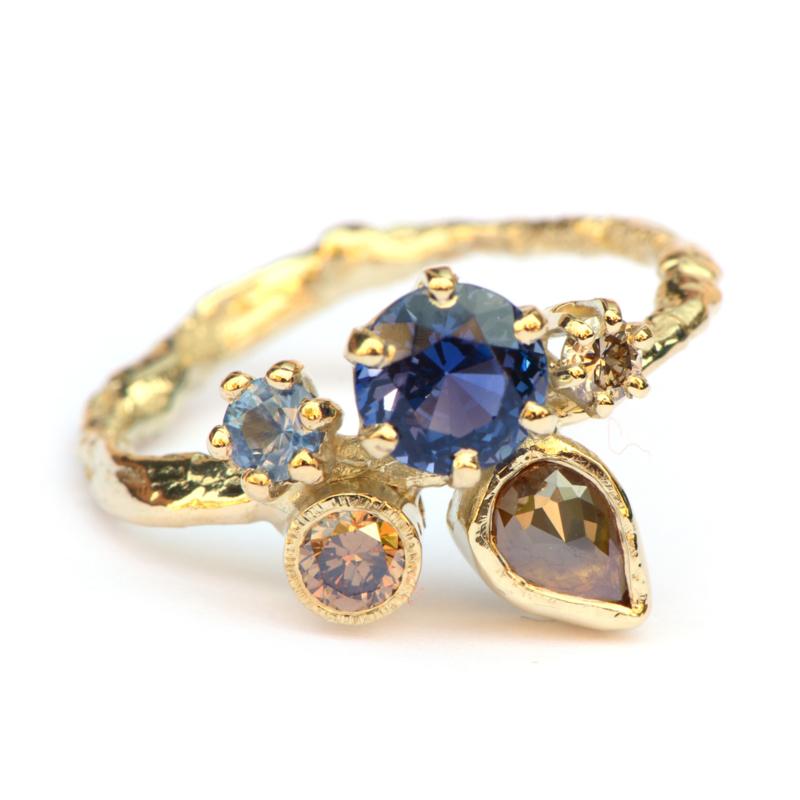 Verlovingsring met saffier en bruine diamant