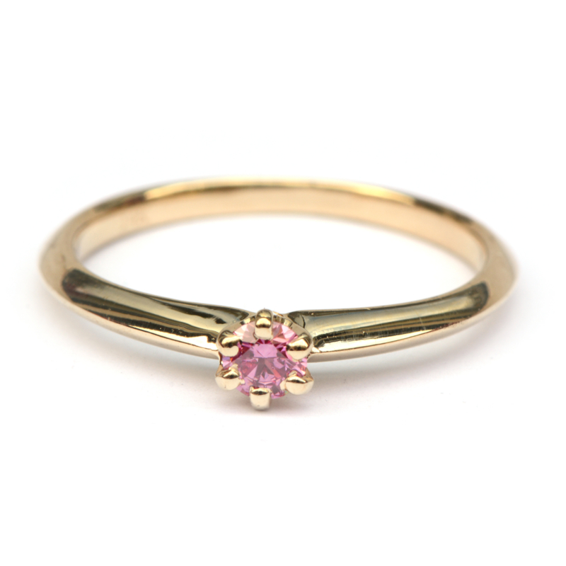 Ring met roze diamant
