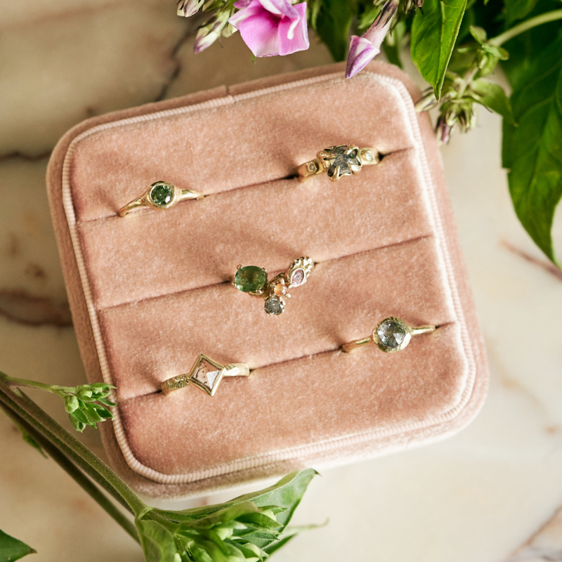 Velvet ringendoosje roze