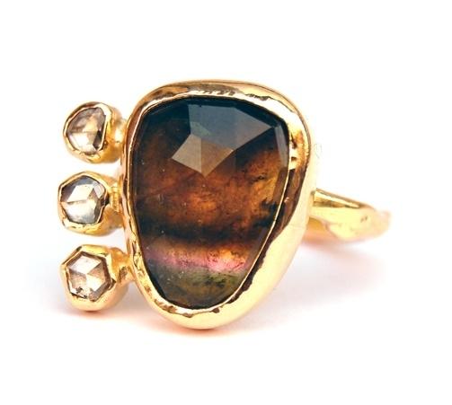 Tourmalijn ring met diamant