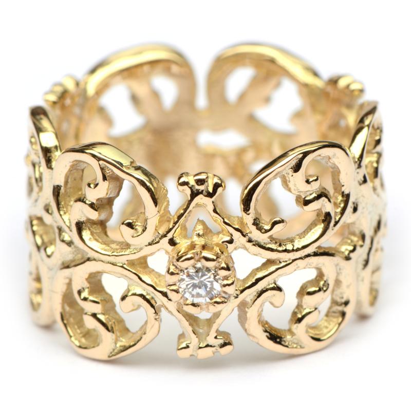 Kanten ring met diamant