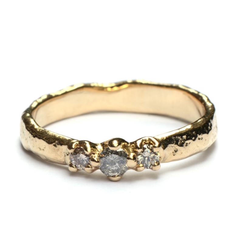 Elfie ring met salt & pepper diamantjes