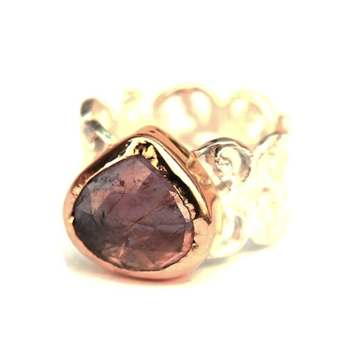 Silver ornamental ring with tourmaline