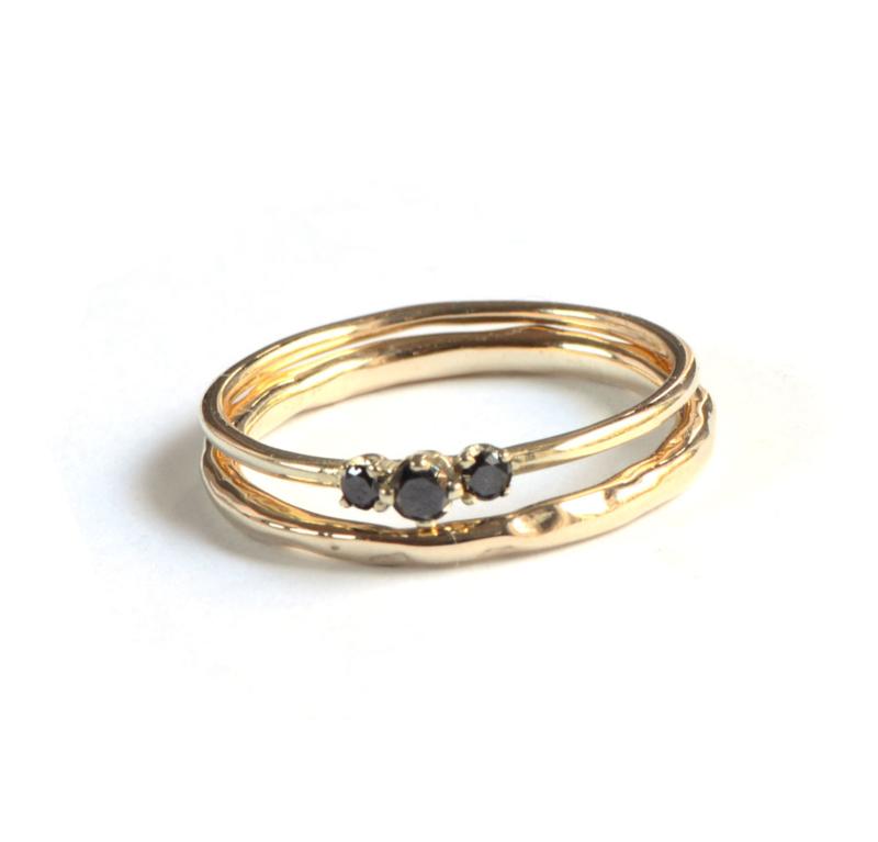 Ringenset met zwarte diamant