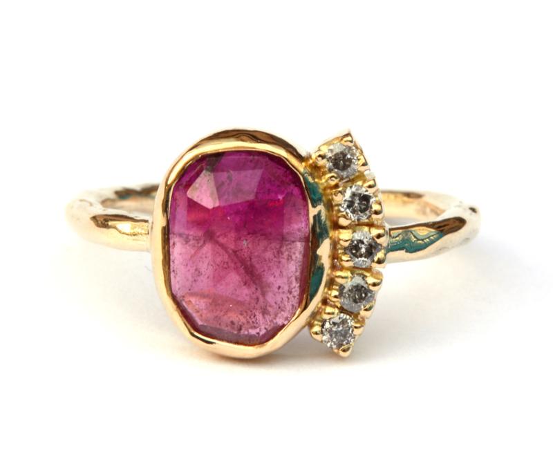 Exclusieve ring met toermalijn en diamanten