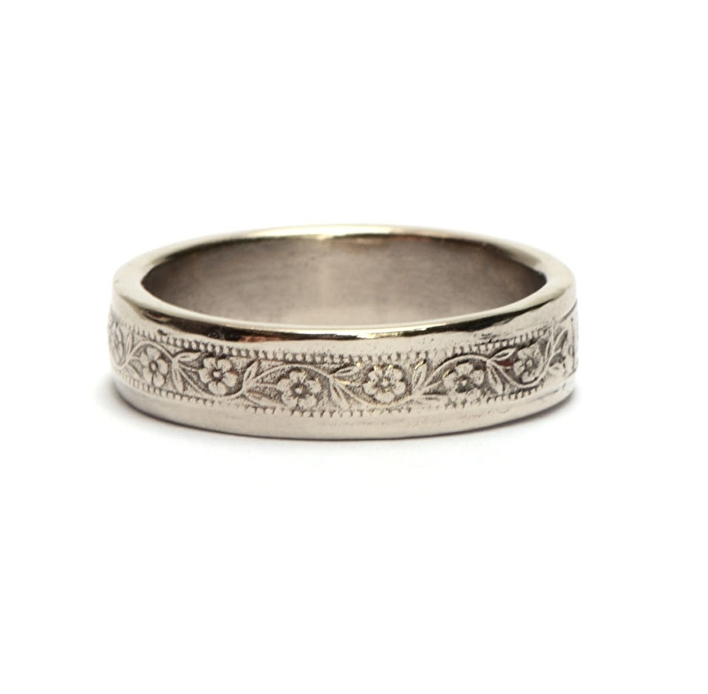 White gold mens wedding ring with floral pattern