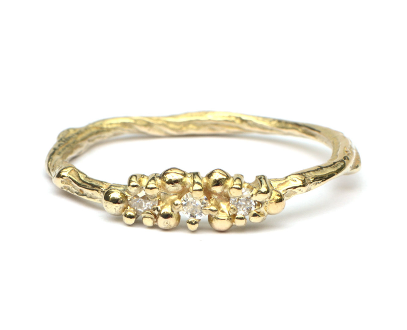 Fairy Twiggy ring in geelgoud